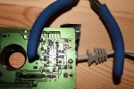 Amiga Mouse Repair - bottom view, preparing for soldering
