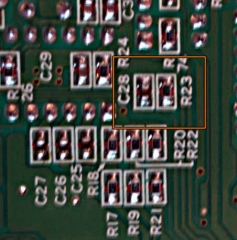 Underside of PCB, C28 and R23 highlighted