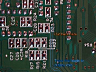 Underside of PCB - trace cuttination - theory