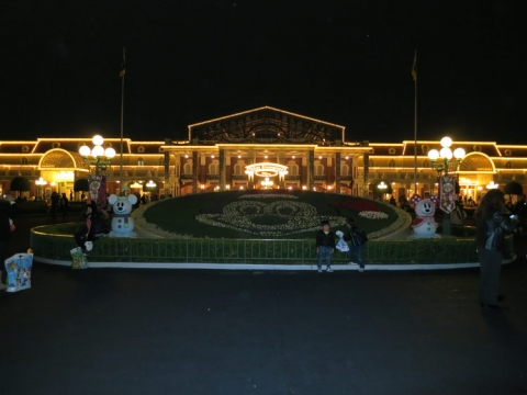 Day 14 - Disneyland entrance at night